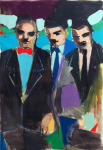 <b>Three Men</b><br>Mixed media, 46 by 30 inches, 48 by 32 inches framed<br><i>sold</i>