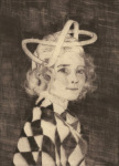 <b>Amy Wearing a Mobius Strip as a Hat</b>, 2017<br>drypoint and mezzotint, 15x11 inches<br>$600