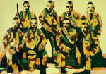 <b>Soldiers</b>, 2014<br>Mixed Media on paper, 30x44 inches unframed<br>$1500