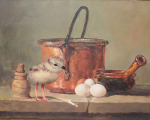 <b>Still Life with Chick</b>, 2013<br>Oil on wood panel, 11x14 inches<br>$4000