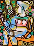 <b>Woman with Fruit </b>, 2015<br>Acrylic and oil on canvas, 59x44 inches, 60x46 inches framed<br>$9500